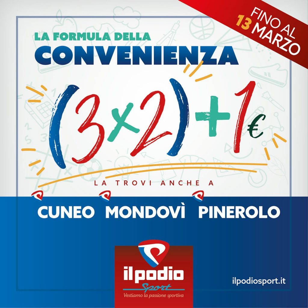 ANCHE A CUNEO, MONDOVì e PINEROLO la formula 3️⃣x2️⃣+1️⃣€!