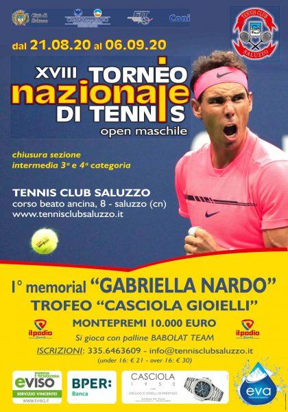 "XVIII Torneo Nazionale di tennis – Open Maschile – 1° memorial ""GABRIELLA NARDO"""